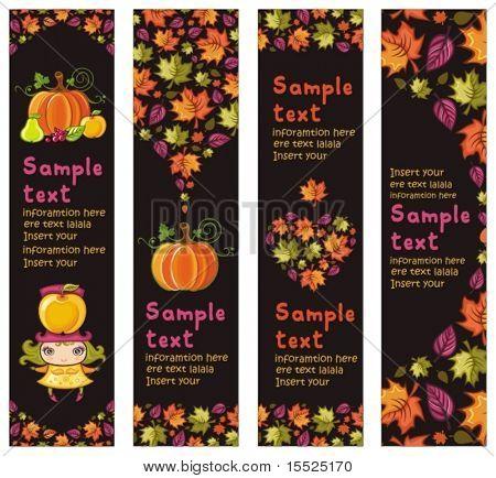 Постер, плакат: Красочные осеннего баннеров с осени листья тыква яблоко груша ягоды милая маленькая девочка С спа центром, холст на подрамнике