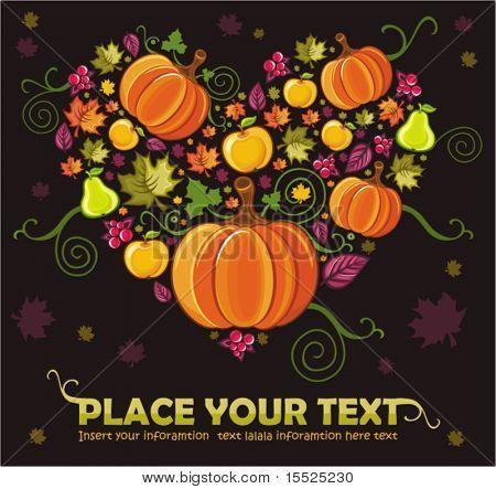 Постер, плакат: Различные виды осенних листьев тыквы груши яблоки ягоды Объединенные в форме сердца , холст на подрамнике
