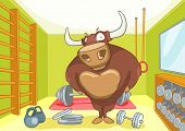 Hand drawn cartoon of gym room with bull. Cartoon background of gym room with bull character. Cartoo poster