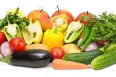 vegetables and fruits isolated on a white background