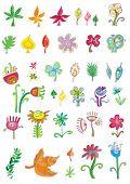 Colorido conjunto de flores e folhas de elementos. Para ver a moda semelhante, por favor visite minha galeria