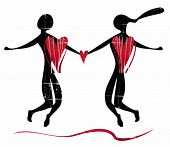 Stylized silhouette of couple of lovers. 