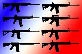 image of mp5  - Vector set of guns on color background - JPG