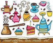Funny coffee, mate, tea, set