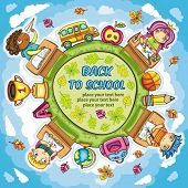 Colorful round composition, with cute schoolchildren and school design elements