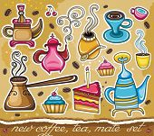 Cartoon collection of cute icons - coffee, tea, yerba mate theme
