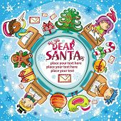 Happy children writing letters to Santa Claus. Christmas greeting card