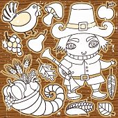 Grunge Thanksgiving elements on the wooden background. Pilgrim boy, turkey, cornucopia, vegetables, fruits and autumn leaves Thanksgiving series 3