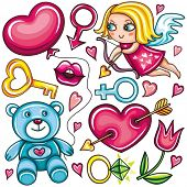 Decorative valentine elements:cute cupid shooting arrow, key, teddy bear, heart with arrow through, female and male gender sign, diamond ring, tulip flower, hot kiss, heart shaped balloon.