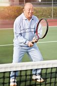 A shot of a senior asian man playing tennis