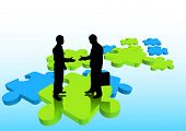 image of change management  - Businessmen shaking hands on puzzle pieces - JPG