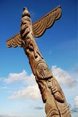 An old wooden totem pole.