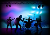 Vector illustration of a rock band playing live.