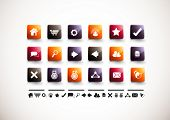 A collection of 18 internet and website icons.