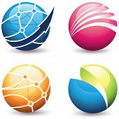 A collection of globe design icons.