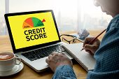 Credit Score  (businessman Checking Credit Score Online And Financial Payment Rating Budget Money) poster
