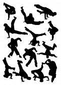 Vector illustration. Collection silhouette of  breakdancer