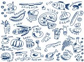 set of food doodles vector