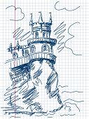 Kasteel doodle Vector. Bekijk mijn portfolio voor grote collectie van doodles