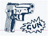 Hand drawn gun Vector. Visit my portfolio for big collection of doodles
