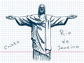 Hand drawn Cristo in Rio De Janeiro. Visit my portfolio for big collection of doodles