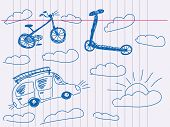 Hand drawn vehicle Vector. Visit my portfolio for big collection of doodles