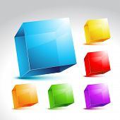 vector collection of six crystal colorful cubes