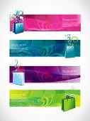 Vector comercial conjunto de estilo de encabezados de cuatro diferentes estilos y colores