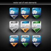 vector web elements with selling the product in 9 styles