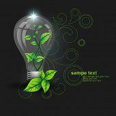 vector bulb artwork having leaf inside it
