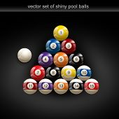 glossy set of pool balls. Vector illustration