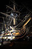 Sailing ship by night