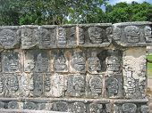 Temple Stone Sculpture With Dead Skull Forms, Chichen Itza, Mexico