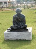 picture of mahatma gandhi  - Shot in a park near our village was this feel good kind of satue of mahatma gandhi  - JPG