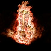 Banknotes open arms fire on a black background