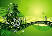 Modern green vector background with trees