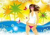 Meisje, palmen, vlinders, zee, zomer