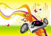 Color waves, turntable & loudspeakers on openair