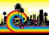 Cityscape with palms, loudspeakers & rainbow