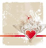 pic of hand heart  - Vintage winged heart - JPG