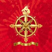 Antike golden Compass rose
