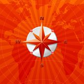 Red compass rose on a world map background