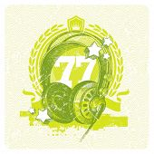 Abstract vector musical emblem with hand drawn studio headphones
