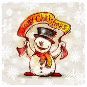 Boneco de neve feliz com banner de férias