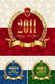 Happy new year - golden vector ornate frames
