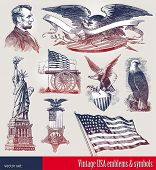 pic of statue liberty  - Vector set of american patriotic emblems  - JPG