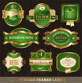 Vector vintage golden-green luxury ornate framed labels decorated patterns, banners, ribbons and orn