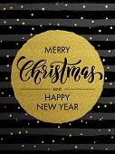 Merry Christmas, Happy New Year gold glitter foil gilding greeting card. Vector snowflakes, black st poster