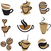 stock photo of coffee cups  - vector coffee elements set 2 - JPG
