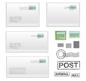 realistic envelopes with stamps and seals